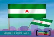 15 Banderas Andalucia estrellada de mano con palo de Tela