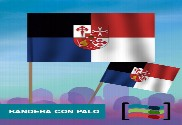 15 Banderas Región de la Mancha de mano con palo de Tela