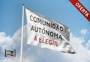 Pack: Steel floor mast (white) and flag of your autonomous community