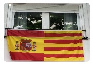 Flag of Spain width shield and Catalonia