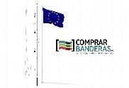 Mât en acier (blanc) + Drapeau de l'union européenne